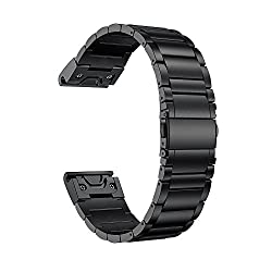 LDFAS Fenix 6X Pro/5X Band, Quick Release Easy Fit 26mm Solid Stainless Steel Metal Bands Compatible for Garmin Fenix 6X/6X Pro/5X/5X Plus/3/3HR/Descent Mk1 Smartwatch, Black
