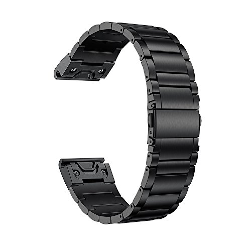 LDFAS Fenix 5X Band, Quick Release Easy Fit 26mm Solid Stainless Steel Metal Bands Compatible for Garmin Fenix 5X/5X Plus/3/3HR/Descent Mk1 Smartwatch, Black