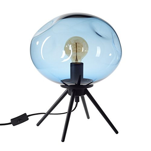 Uplight Table (CASAMOTION Table Lamp Handblown Glass Light Contemporary Uplight Bed Side Desk Accent Lamp, Blue)