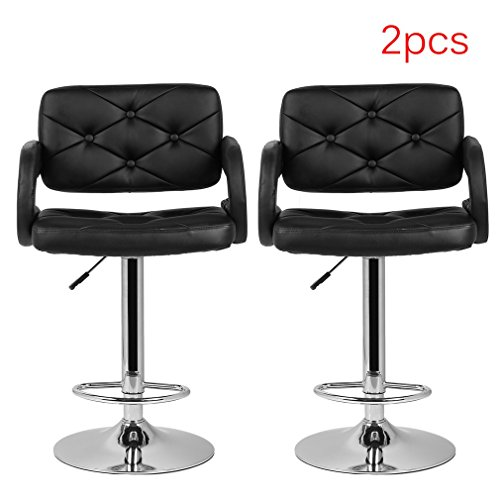 PU Leather Bar Stools Hydraulic Swivel Chair Height Adjustable with Armrest Footrest Chromed Base, Set of 2
