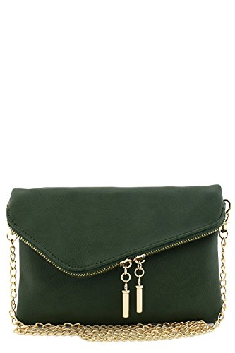 - Envelope Wristlet Clutch Crossbody Bag with Chain Strap (Olive)