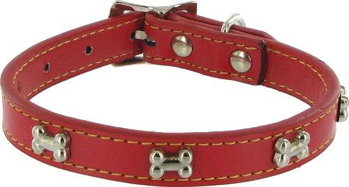 Kakadu Pet Give a Dog a Bone Leather Dog Collar, 1 1/4″ x 22″, Red, My Pet Supplies