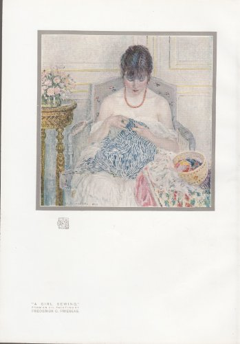 A Girl Sewing - From An Oil Painting - 1914 Print