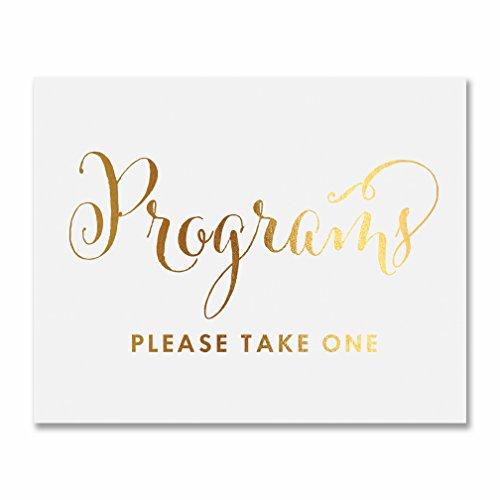 Wedding Programs Gold Foil Print Sign Please Take