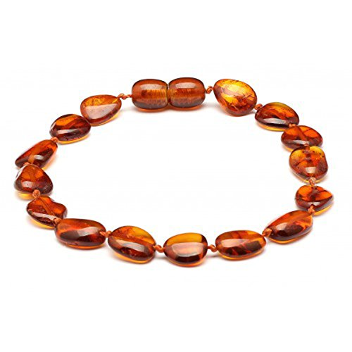 Amber Corner Baltic Amber Adult Knotted Bracelet Unisex ABB142 Mix Polished Cognac 19cm Flat Beads By