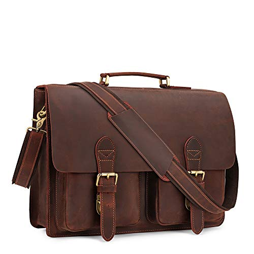 Kattee Handmade Genuine Leather Laptop Briefcase Messenger Bag (Coffee)