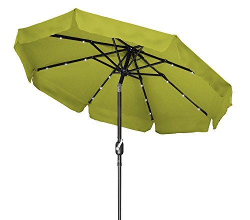 Trademark Innovations Deluxe Solar Powered LED Lighted Patio Umbrella - 8' With Scalloped Edge Top - (Light Green) - 8' diameter, crank operation, with tilt Option and Scalloped edge top 8 Steel ribs, each rib has 3 LED lights Fabric 180g polyester with Black Steel coating - shades-parasols, patio-furniture, patio - 41MizO9LrlL -