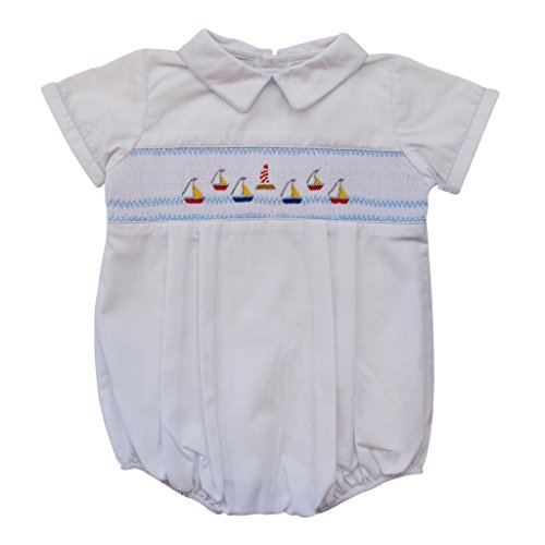 Carriage Boutique Baby Boys Hand Smocked Classic Creeper - White Mini Sail Boats, 9M (Smocked Sailboat)
