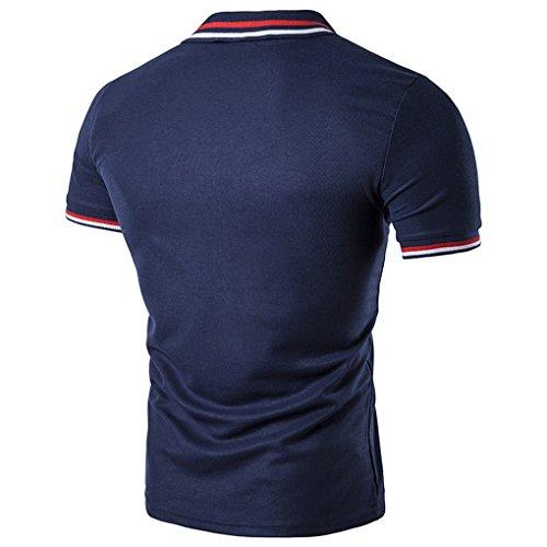 T Bleu Courtes Travail Acmede Sport shirt Décontracté Rayures Homme Marine Manches Loisir Chemise Polo Col De Cxw65