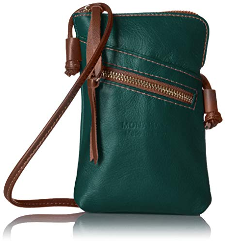 Italian Leather Passport Case - MONAHAY Small Italian Leather Cross Body Cell Phone and Passport Travel Pouch Bag MH9723 ... (Dark Cyan/Brown)