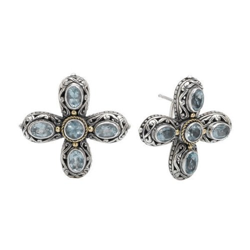 925 Silver & Blue Topaz Celtic Cross Earrings with 18k Gold Accents - Blue Topaz Cross Earrings