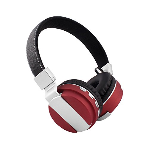 Alltrum Foldable Over-Ear Wireless Headphone,Built-in Mic, Stereo Sound,Lightweight,Comfortable Wearing Feeling,Noise Reduction,SD Card,Wired Modes for Phone / PC / Tablets, Red