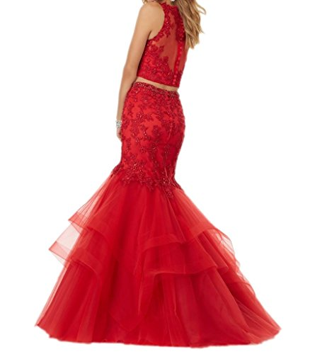 Royaldress 2017 Neu Rot Spitze Meerjungfrau Damen Abendkleider Partykleider Promkleider Ballkleider Lang