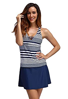 FanShou Women Stripe Tankini Top Sets Skirted Racerback Swimsuit Two Piece Bathing Suits Swimwear