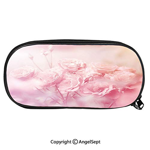 Kid School Pencil BagDreamlike Spring Nature Theme Blurry View Feminine Bouquets Gardening Bedding Plants Decorative Cute Printing Pen Case Adult Office Accessories Pencil HoldersPale Pink
