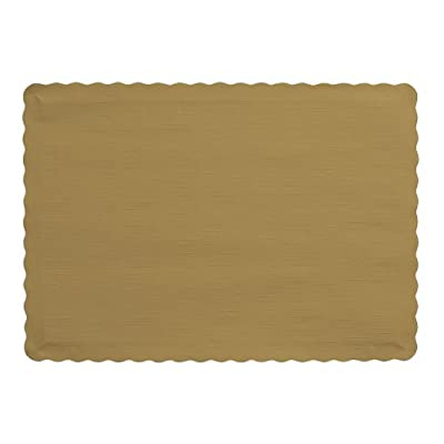 "Creative Converting 863276B PLACEMATS, 10"" x 14"", Glittering Gold - 50-Count package of paper placemats in Glittering Gold Actual product dimensions are 9.45 x 13.25 inches Made in the USA - placemats, kitchen-dining-room-table-linens, kitchen-dining-room - 41Mj%2Bx4mPKL. SS400  -"