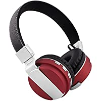 Alltrum Foldable Over-Ear Wireless Headphone,Built-in Mic, Stereo Sound,Lightweight,Comfortable Wearing Feeling,Noise Reduction,SD Card,Wired Modes for Phone / PC / Tablets, Dark Red