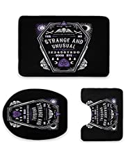 Strange and Unusual - Beetlejuice - Goth - Coffin 3-Piece Bathroom Mat Set, Flannel Extra Soft Combo Rug Shower Floor Non Slip Absorbent Washable U-Shaped Contour Mat and Lid Cover Home Decoration