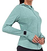 BALEAF Women's Running Shirts Quick Dry Full Zip UP Loose Jackets Soft Workout Hiking with Hoodie...