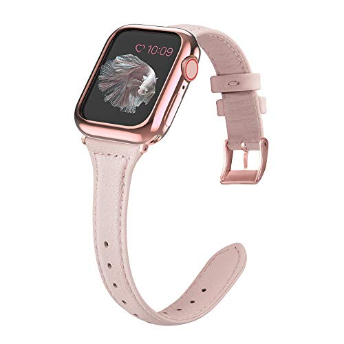 (MARGE PLUS Compatible Apple Watch Band with Case 38mm 40mm Women, Slim Genuine Leather Watch Strap with Soft TPU Protective Case Replacement for iWatch Series 4 3 2 1, Pink with Rose Gold Buckle)