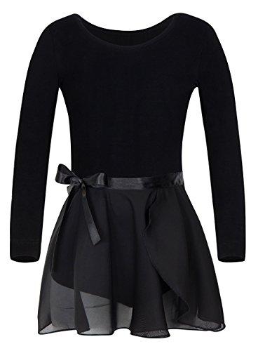 YEEIC Girls' Long Sleeve Dress Athletic Dance Leotard (6-8, Black)