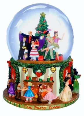 Party Scene Musical Snow Globe Plays