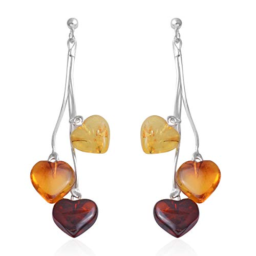 925 Sterling Silver Heart Beads Mix Multi Color Amber Dangle Drop Earrings ()