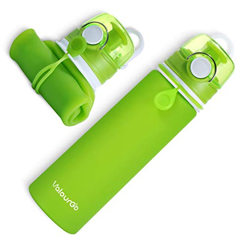 - Valourgo Collapsible Water Bottle - Portable Leak Proof BPA Free Silicone Sports Water Bottle for Travel, Gym and Outdoor, 21 oz (Green)