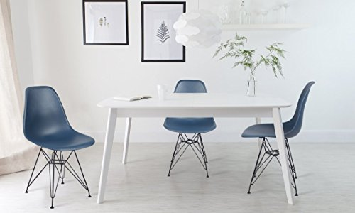 GIA Teal/Ocean Color Armless Home Office/Side Dining Chair(Set of 2) - Eames Style - Metal Legs - Seat Height 18 inch - Weight Capacity of 300+ Pounds - Easy Assembly - Extra Durable and Comfortable