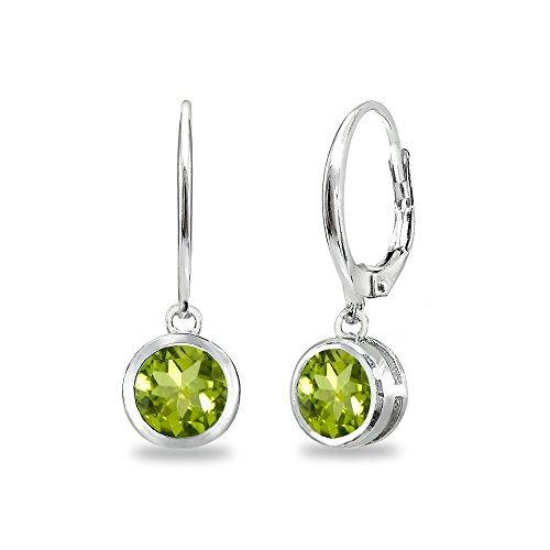 Sterling Silver Peridot 6mm Round Bezel-Set Dangle Leverback Earrings for Women Teen Girls ()