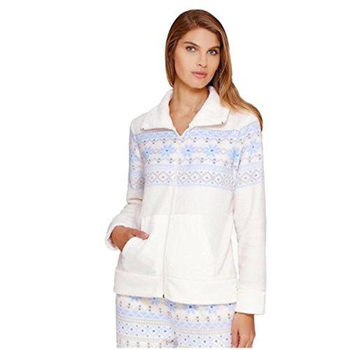Women's Croft & Barrow Pajamas: Wispy Clouds Plush Full-Zip Sleep Cardigan Ivory (Barrow Plush)