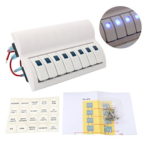 d 8 Gang Splashproof Waterproof Rocker Switch Panel White with Blue LED Indicators for Boat Marine Bridge Control, Push Button Circuit Breakers Overload Protected, 12v 24v, White ()