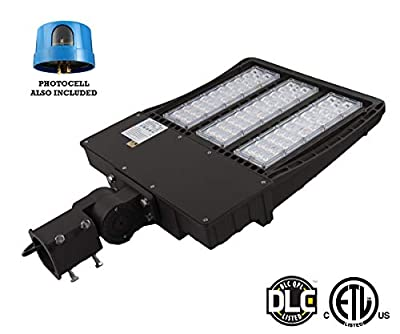 300W LED Parking Lot Lights - LED Shoebox Pole Light - Slip Fitter - 37500 Lms - 5700K - 1000W HID/HP Replacement - Outdoor Commercial Area Street Lighting Fixture - 100-277V, IP66, Photocell Included