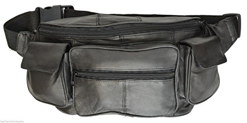 Large Black Genuine Lambskin Leather Fanny Pack Waist Bag with Cell Phone Pouch by Private Label (Image #1)