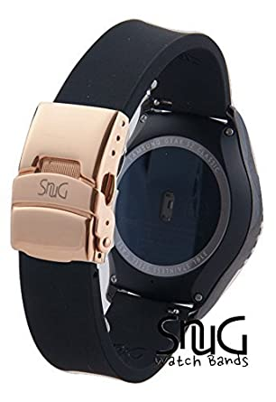 SnuG Watchbands Samsung Gear S2 classic 20mm Replacement Smart Watch Band fits Samsung Gear s2 CLASSIC only- Quick Release - (Black with Rose Gold ...