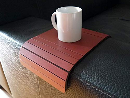- Wooden sofa armrest table in many colors as bordeaux red Small flexible over the couch side tables Narrow folding dining slinky arm tray Armchair trays server drink Slim wrap covers furniture