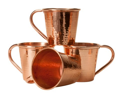 Amazon Lightning Deal 83% claimed: Sertodo Copper Moscow Mule Mug Set of 4 Hammered Copper 12-Ounce