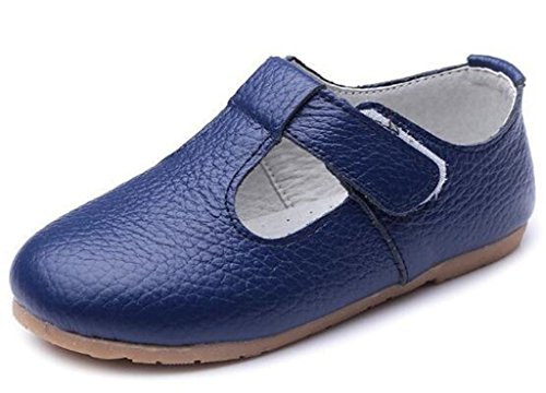 's Leather T-Shaped Strap Oxford Shoes Blue US Size 9.5 M Toddler ()