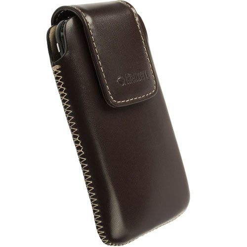 Krusell 95520 Vinga Large Leather Pouch with Magnetic Flap for Blackberry Bold 9900 and Blackberry Q10 - Brown