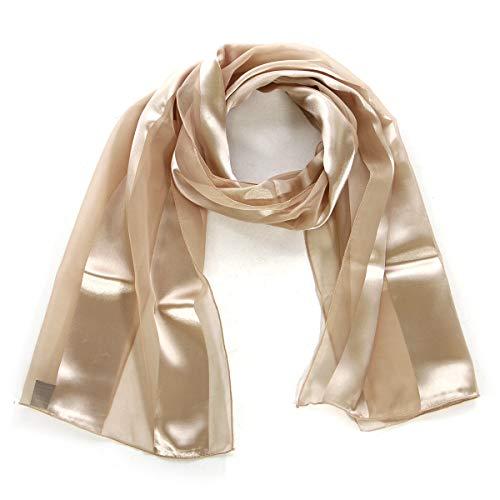 "Scarfs for women | lightweight soft silky scarves | 60"" long satin chiffon stripe solid color neckerchief, Beige"