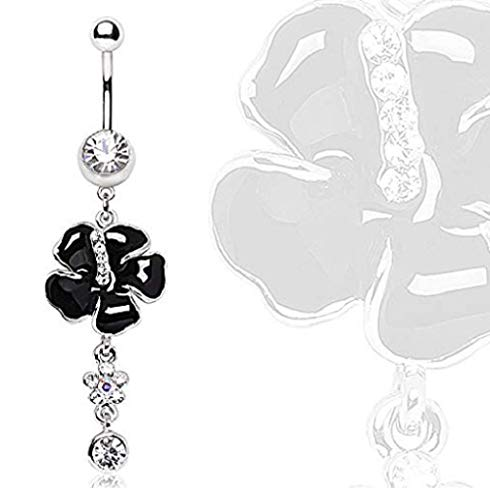 Freedom Fashion 316L Surgical Steel Black Hibiscus syriacus with Gem Dangle Navel Ring (Sold by Piece)