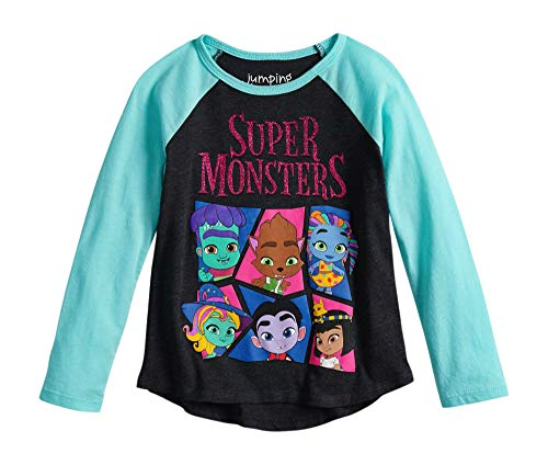 Super Monsters Toddler Girls Raglan Long Sleeve Shirt (3T-5T) (3T) -