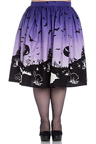 Hell Bunny Plus Size Purple Halloween Haunt Bats Pumpkin Gothic Skirt -