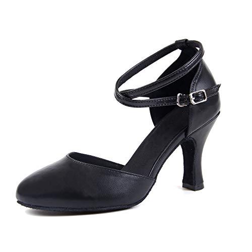 Tango Valse Chaussures Noir Danse Syrads Salsa 8cm Room De Moderne Latine Femmes aqaOH4F