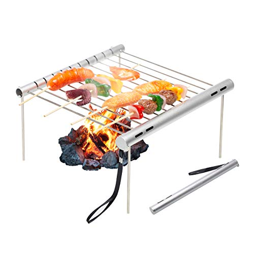 Overmont Barbecue Grill Portable Foldable BBQ Stand Charcoal Shelf Grate Galvanized Feet Home Camping For Sale