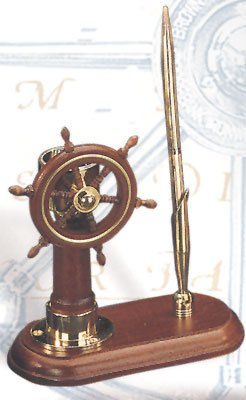 Ship Wheel & Compass Nautical Pen Holder (pen not included) by HS