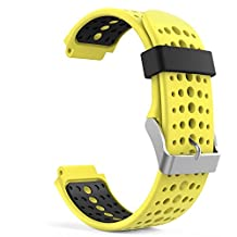 TenYun Garmin Forerunner 230 GPS Running Watch band, Soft Silicone Replacement Watch Band wrist and strap with Tools for Garmin Forerunner 230/ 220 / 235/ 620 / 630 / 735 Smart Watch (Yellow&Black)