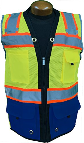 SHINE BRIGHT SV544RB | Premium Surveyor's High Visibility Safety Vest | 2 Tone Lime/Royal Blue with Reflective Strips |ANSI CLASS 2 |Soft and Breathable |Heavy Duty Zipper Front |Size Medium