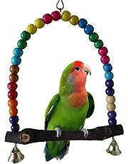 Yosso colore 14 cmx14.3 cm giocattolo di uccelli in legno, altalena pappagallo comprende delle campane, elegante Swing Dondolo da appendere Parakeet