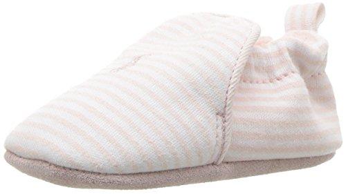 Polo Ralph Lauren Kids Girls' Percie Light Pink Stripe Ballet Flat White, 3 M US Infant
